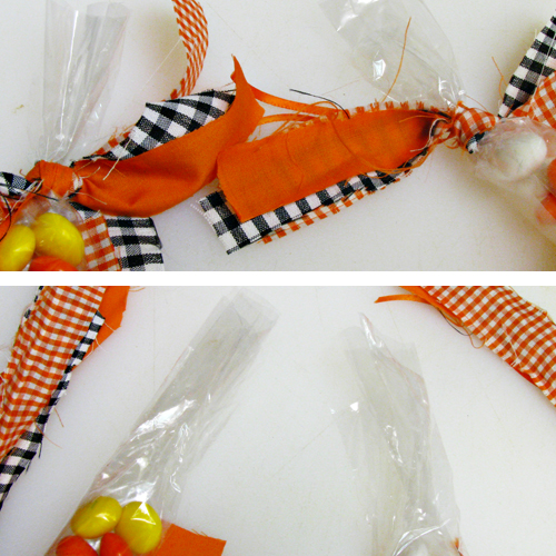 How to Make a Candy Corn Halloween Garland (made with Candy Corn M&M's)