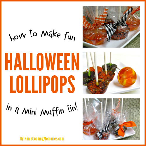 Homemade Halloween Lollipops - in a mini muffin tin!