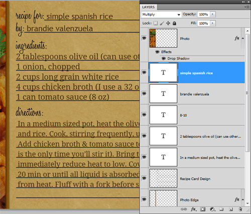 how to make recipe cards in photoshop home cooking memories