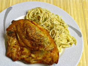 Rosemary Garlic Chicken Breasts with Parmesan Linguine