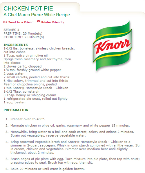 knorr chicken stock pot gravy recipe