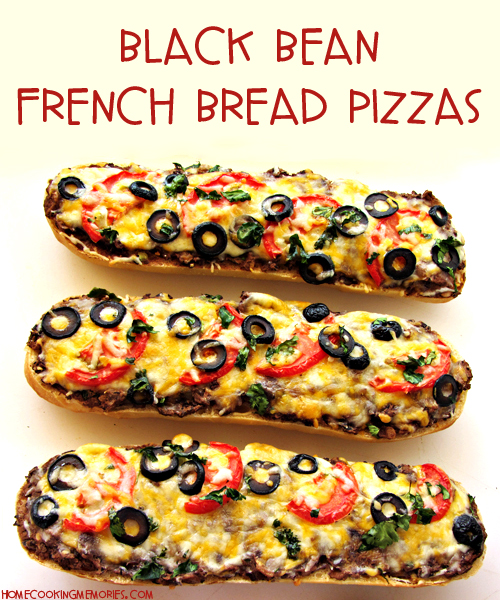 Black Bean French Bread Pizzas