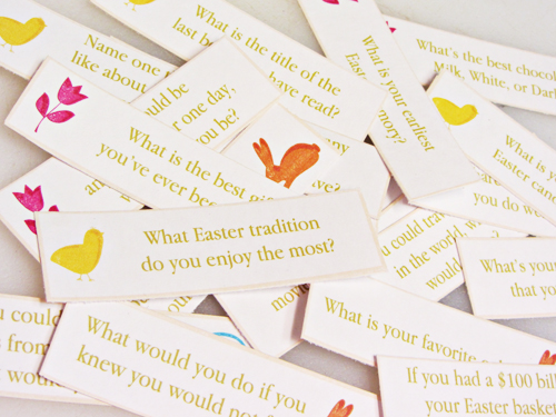 photo relating to Printable Conversation Cards titled Absolutely free Printable: Easter Evening meal Communication Starters - Household