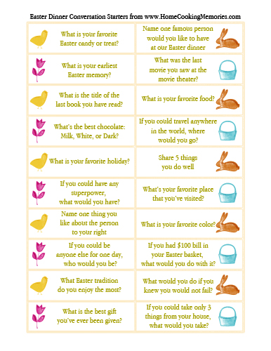 Free Printable Easter Dinner Conversation Starters Home