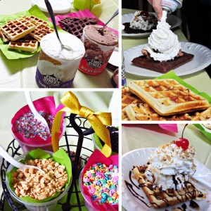 Breakfast Ice Cream Party with Brownie Waffles