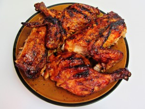 Grilled Butterflied Whole Chicken with Barbecue Sauce