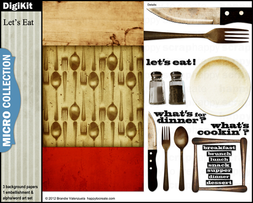 Digital Scrapbooking Kit - Let's Eat