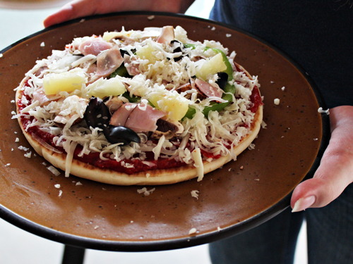 Grilled Pita Pizza with Ham, Pineapple, Black Olives