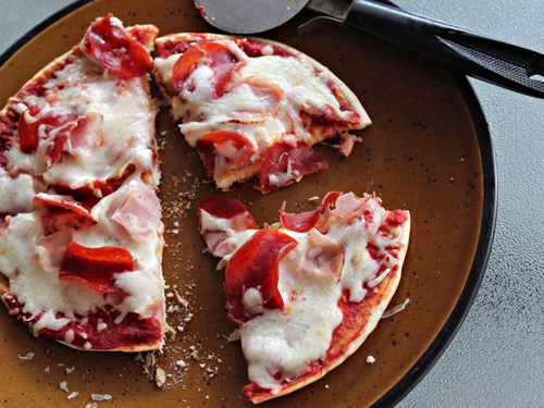Grilled Pita Pizza with Pepperoni