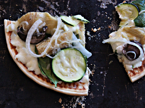 Grilled Pita Pizzas with Ricotta, Zucchini, Artichoke Hearts, Spinach, Onions, Mushrooms