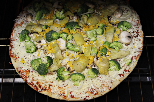 Walmart Marketside Cheese Pizza - add your own veggies
