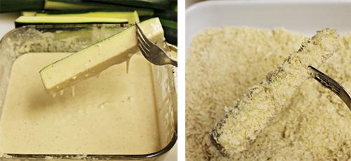 Dip zucchini in beer batter and panko breadcrumbs