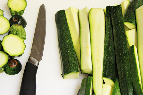 Cut zucchini for fried zucchini