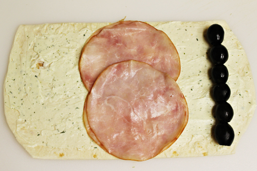 Eyeball Pinwheels: add ham slices and olives