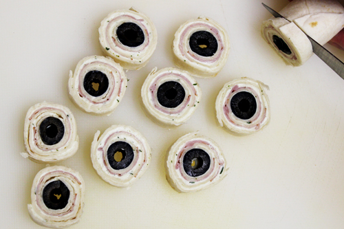 Eyeball Pinwheels: slice tortilla rolls