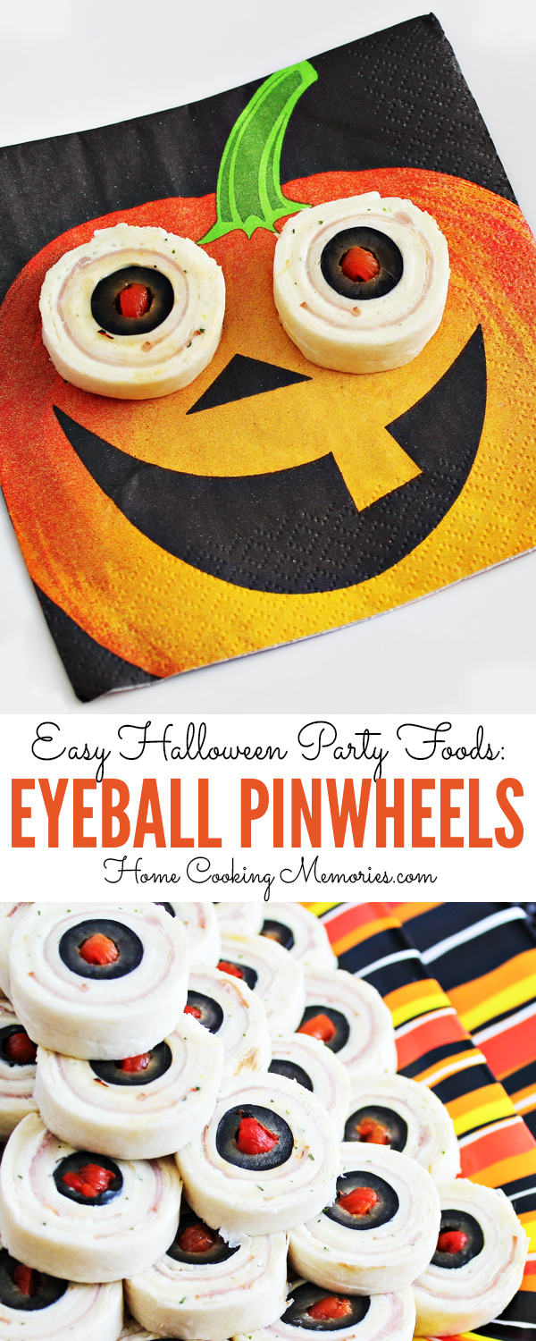 Here's an easy Halloween party foods idea: Eyeball Pinwheels! They give the creepy look of bloodshot eyeballs and are especially fun when served on jack-o-lantern napkins.