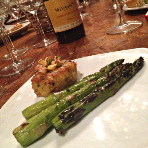 Mirassou Wine Tasting & Dinner - Asparagus and Crab Cake