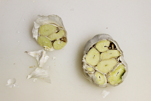 How to Roast Garlic: cut off the top part of the garlic head