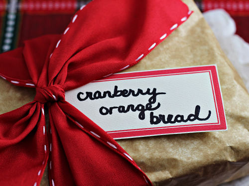 Cranberry Orange Bread - wrapped for Christmas