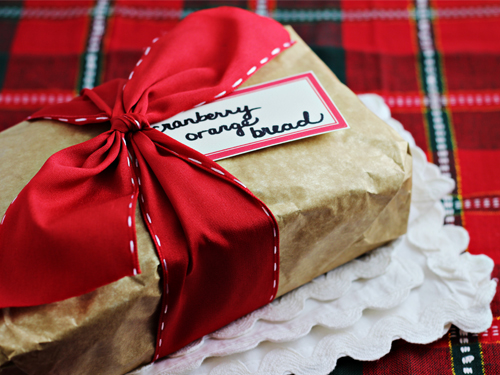 Cranberry Orange Bread - wrapped for Christmas gift giving