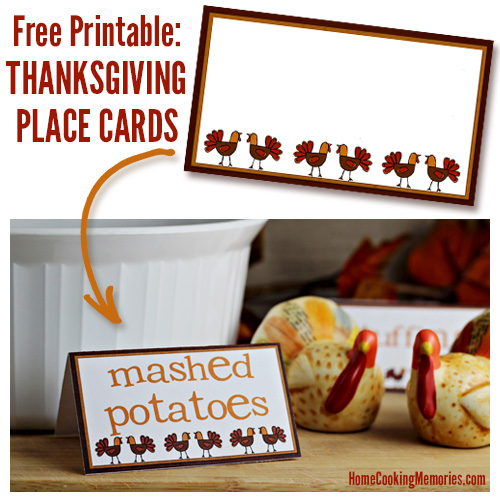 Free Thanksgiving Printable! Print these Thanksgiving Place Cards and customize with your own text! Fun way to to label food on a buffet table or to assign seating at your Thanksgiving dinner table.