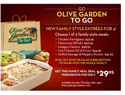 Olive Garden Weeknight Family Meal Deals Giveaway Home Cooking Memories