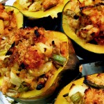 Stuffed Acorn Squash with Leeks, Apples and Cranberries