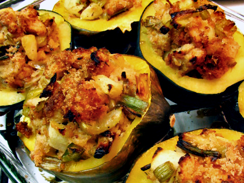 Stuffed Acorn Squash with Leeks, Apples, and Cranberries