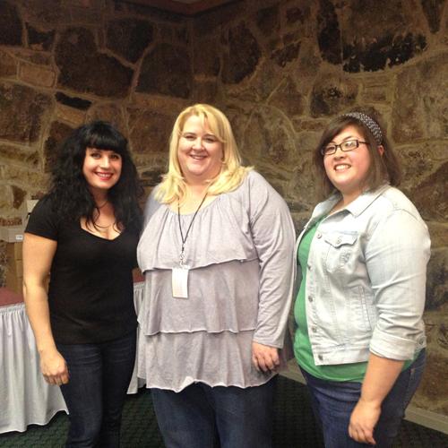 Posing with Elena Fox (left) and Mary Smith (right)