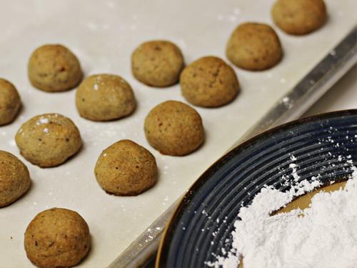 Cardamom-Walnut Cookies (ready for rolling in powdered sugar)