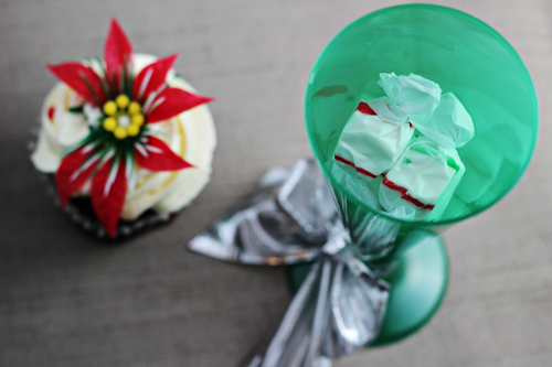 Candy Filled Christmas Cupcake Holder (made with champagne flute)