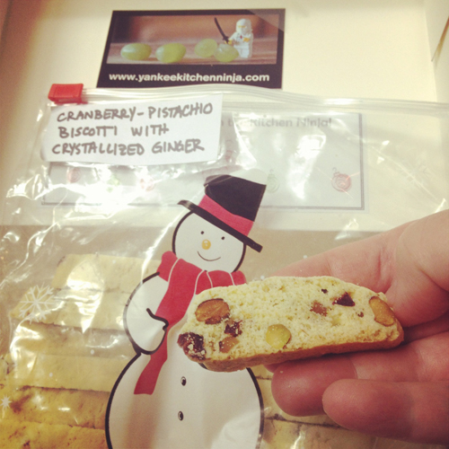 Cranberry PIstachio Biscotti with Crystallized Ginger from Adventures of the Yankee Kitchen Ninja