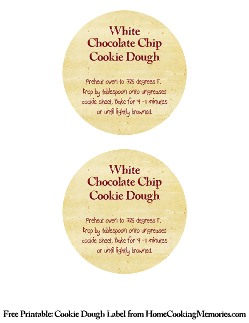 Free Printable: Cookie Dough Label from HomeCookingMemories.com