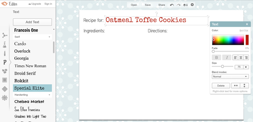 how to make recipe cards in picmonkey home cooking memories