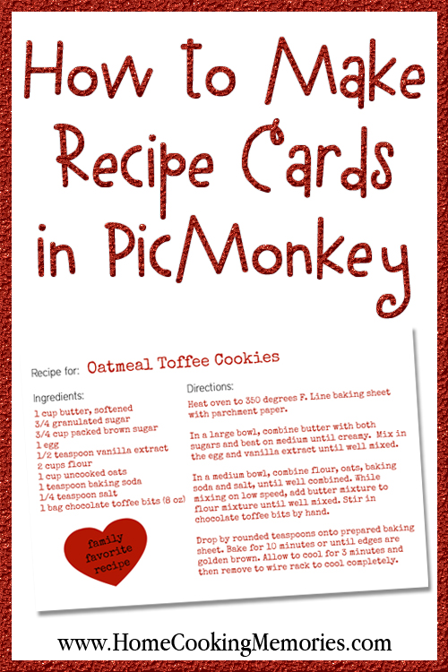 how to make recipe cards in picmonkey home cooking memories. Black Bedroom Furniture Sets. Home Design Ideas