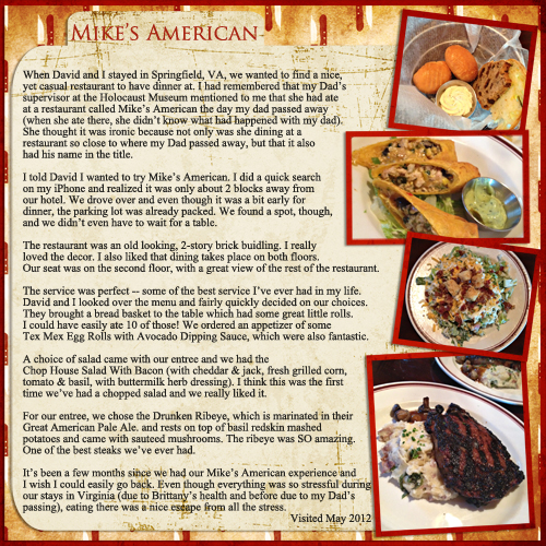 Mike's American Grill Digital Scrapbooking Layout