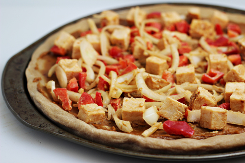 Asian Chicken Pizza with Peanut Sauce