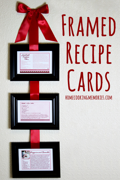Homemade Gift Idea: Framed Recipe Cards (hanging from ribbon)