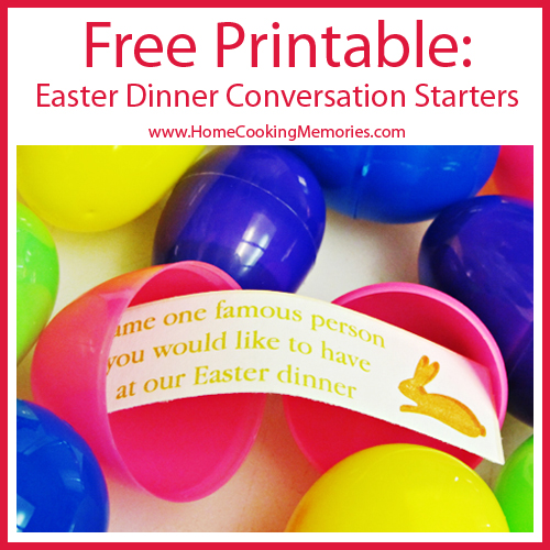 Free Printable: Easter Dinner Conversation Starters -- print, cut & place the eggs in an Easter basket for a fun decoration that is also an activity! #easter #printable
