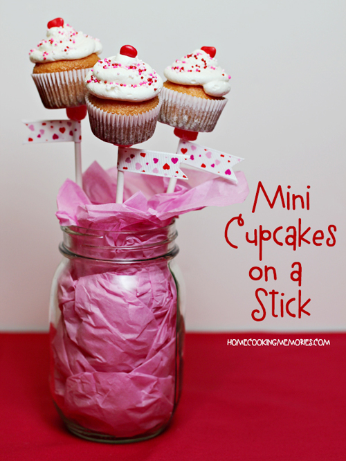 Mini Cupcakes on a Stick -- these cute treats-on-a-stick are a fun way to celebrate Valentine's Day!