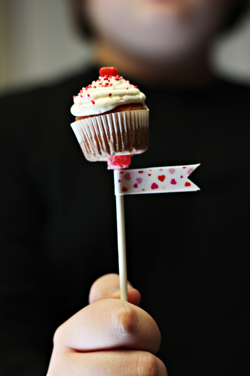 Mini Cupcakes on a Stick with Cool Whip Frosting for Valentine's Day