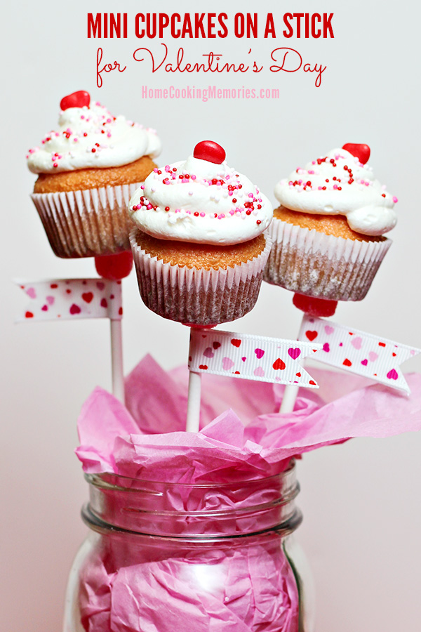 mini cupcakes on a stick for valentine's day - home cooking memories, Ideas