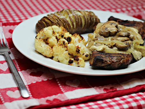 Steak, Hasselback Potatoes, Oven Roasted Cauliflower