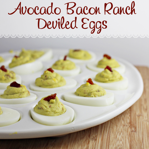 Avocado Bacon Ranch Deviled Eggs - yes!! all the best flavors added to classic deviled eggs. Bet you can't eat just one!!