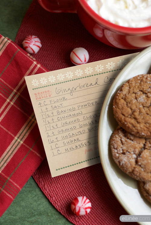 Ellinee-Wood Type Holiday Recipe Cards