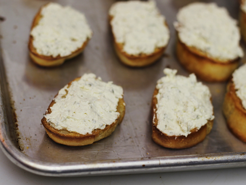 Herbed Cheese Asparagus Crostini