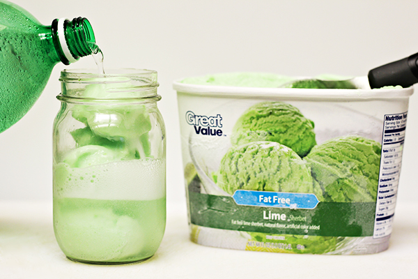 How to Make St Patrick's Day Floats with Lime Sherbet and Lemon Lime Soda