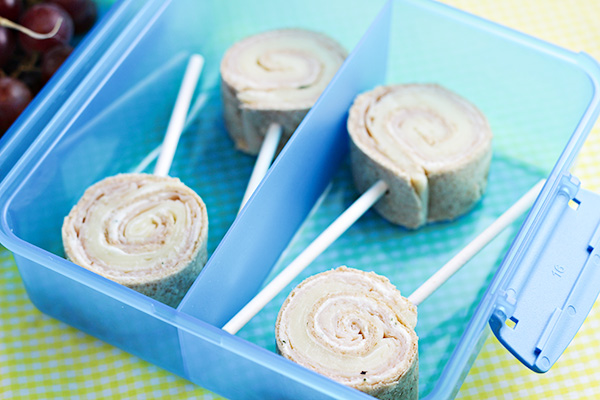 Kid Lunch Ideas - Tortilla Pinwheel Lollipops Recipe