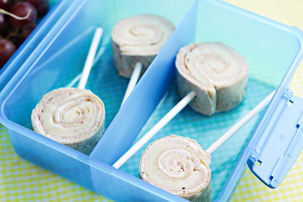 Kid Lunch Ideas Tortilla Pinwheel Lollipops