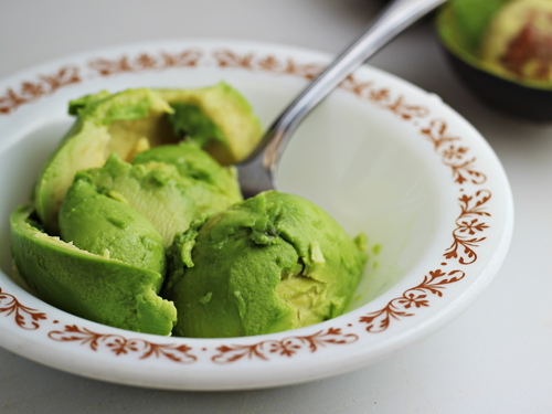 Mash up avocado for Deviled Eggs